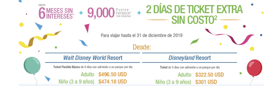 Disney 2 diías de ticket extra sin costo